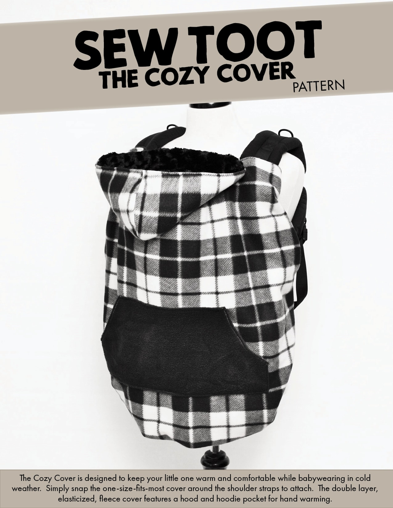 8f56049ace8 The Cozy Cover - Cold Weather Baby Carrier Cover Pattern by Sew Toot
